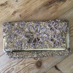 Vintage Gold Satin Sequin & Beaded Folded Clutch